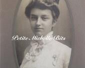 SALE Vintage Cabinet Card - Antique Photograph - Young Woman - Photograph - Girl - Ephemera