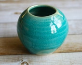 Small Round Vase in Turquoise Crackled Glaze Handmade Stoneware Pottery Ready to Ship Made in USA