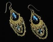 Boho Brass Bollywood Earrings, Gypsy Dangle Earrings, Boho Chandelier Unique Jewelry Gift for Women, Long Brass Earrings, Niobium earrings