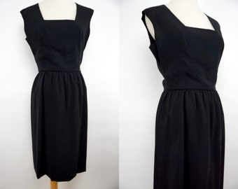 1960s Black Crepe Rayon Wiggle Dress Sleeveless Fitted Knee Length Square Neck Small Medium
