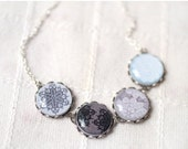 Lace snowflake necklace - Holiday jewelry - Gift for her under 30, 50 USD (BN013)