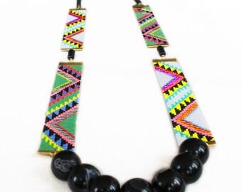 Designer beaded long necklace - Acapulco -  handmade semi precious stones obsidian, agate, tribal Aztec inspired print. Khaki, gold, black.