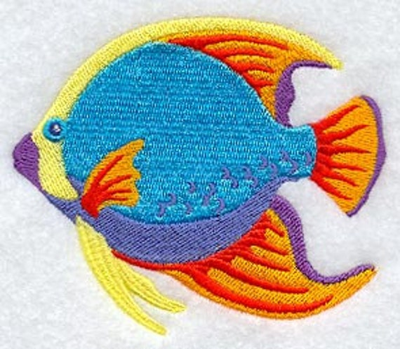 Fish Towel Caribbean Towel Embroidered Towel Tropical