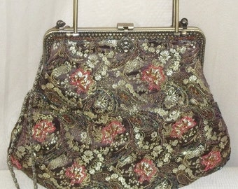 HOT SALE Vintage Beaded Evening Jacquard Purse Handbag Bag Clutch