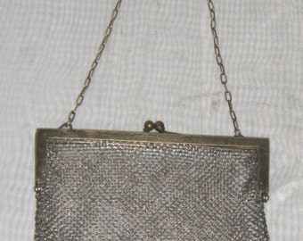 Spooktacular SALE Antique German Silver Purse Clutch Hallmarked Metal Mesh Handbag Bag