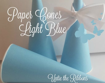 Light Blue Paper Cones - Birthday, Party, Standard (20 count)