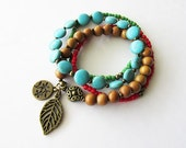 Boho Turquoise Wood and Glass Leaf Charm Bracelet set