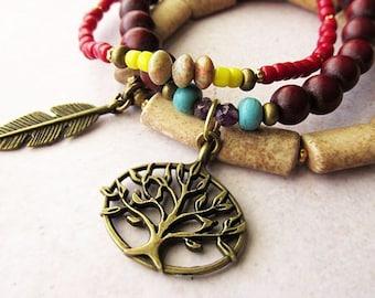 Eclectic Red and Beige Tree of Life Bracelet Set. Boho Yogi