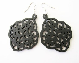 Black Diamond Shaped Wooden Earrings