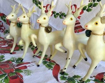 5 Vintage Plastic Big Eye Deer, buck w/antlers Figure with Bell, Hong Kong