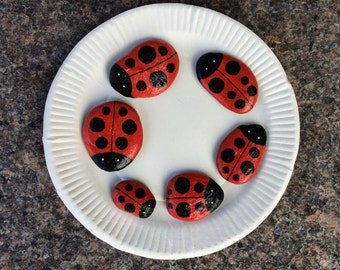 Ladybug family of six painted rocks