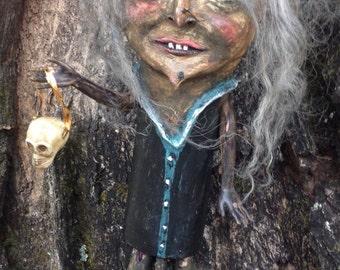 Handmade Folk Art Halloween witch Doll paper mache standing witch ZOMBIE WITCH