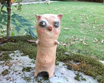 Folk Art Paper Mache standing pig doll with brown eyes ONE of the Three Little Pigs
