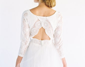 Olivia Dress // lace wedding dress with tulle skirt