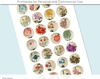 Digital Collage Sheet Vintage Flower Postcard 18mm 16mm 14mm 12mm Circle Round on 4x6 8.5x11 Sheets for Earring Pendant Cuff Link Image