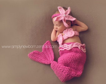 Pink Newborn Mermaid Baby Photo Prop Costume, 0 to 3 Month Mermaid Halloween Costume