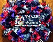 Sugar Skulls Welcome Mesh Door Wreath!