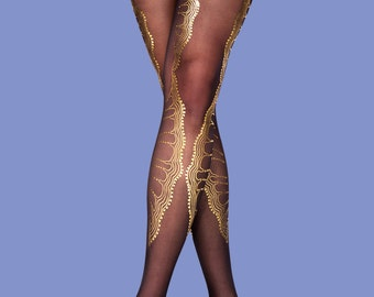 Gold lace, gifts for her, La boheme corset shape tights available in S-M L-XL