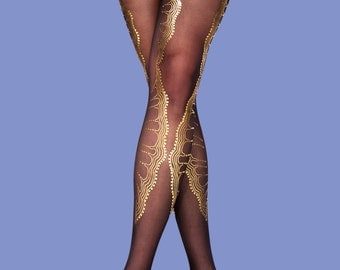 Christmas sale, Gold lace women tights La boheme available in S-M L-XL