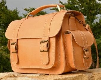 Handmade natural full grain leather briefcase bookbag schoolbag messenger bag from Greece