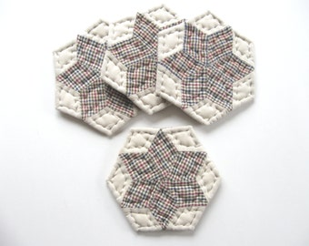 Star Quilted Coasters Fabric Coasters Quilted Mug Mats Country Home Decor Rustic Home Decor Primitive Country Decor Farmhouse Decor Kitchen