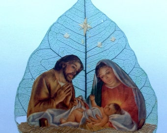 Nativity collectors best value. CHRISTMAS Nativity on leaf. Handmade leaf art collectible. No two leaf art alike. UNIQUE art