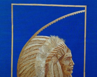 """Native American chief portrait handmade with rice straw art. American Indian chief. Size 8""""X 10""""  FREE SHIPPING Unique collectible art"""