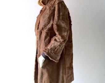 Vintage Pony Fur & Mink Coat - sz M 6 8 - Germany 1950s Fashion - KORN Pelz-Modellhaus Zweibrucker - Retro Fur Jacket Satin Lined Classic