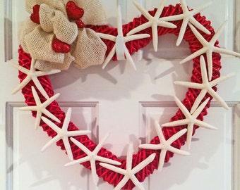 BEACH DECOR VALENTINE'S Day wreath, starfish heart wreath, door wreath, red heart, valentine starfish, coastal, nautical, red white wreath