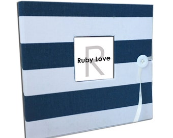 BABY BOOK | Navy and White Canopy Stripe Album | Ruby Love Modern Baby Memory Book