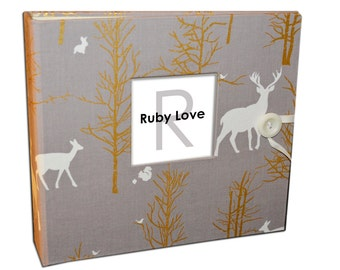 BABY BOOK | Grey and Gold Woodlands Album | Ruby Love Baby Memory Book