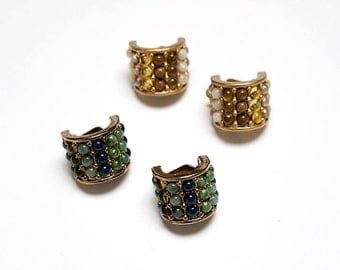 The Vintage Stone Encrusted Curve Clip On Costume Earrings