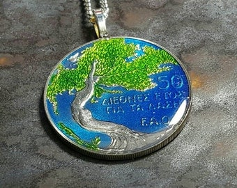 Cyprus - International Year of the Forest Coin Pendant. Hand painted