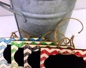 On SALE- Hand Stamped Chalk Tags - set of 4 - Basket Labels, Chalkboard Tags, Wedding Chalkboards, Rustic Wedding