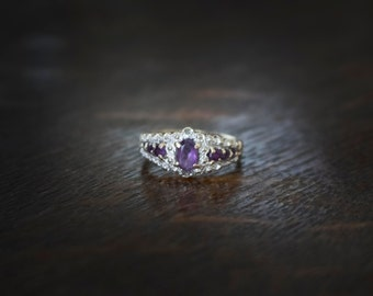 Vintage  Unique engagement ring 10k solid gold Natural gemstone Amethyst and Genuine diamonds wedding ring