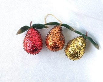 3 Sequin Pear Ornaments