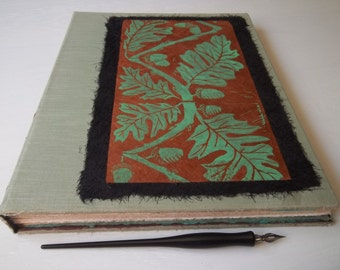 "XL Sketchbook, Large Re-purposed hardcover art journal, multimedia cotton paper ""Forms of Nature & Life"", plein air sketchbook"