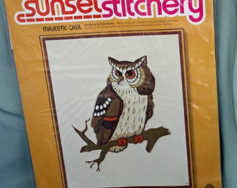 """Christmas in July, Vintage 1975, Majestic Owl, Crewel Embroidery Kit, by Sunset Stitchery, 16"""" X 20"""""""
