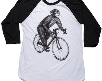 Chimpanzee on a Bicycle- Baseball Raglan Tee, Mens T Shirt, Unisex Tee, Cotton Tee, Bicycle shirt, Bike Tee, sizes xs-xxl