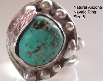 Raw Turquoise Southwest Ring  on 925  Sterlng Silver High Collectible  Size 8 Navajo