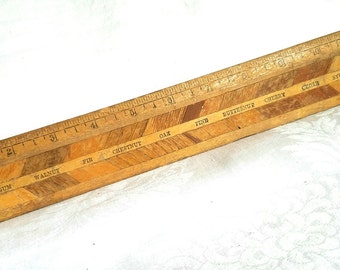 """Vintage Wood Grain Sample Ruler, 12"""""""