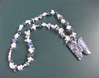 Vintage Lapis & Clear Glass Crystal Butterfly Necklace