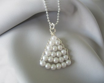 Pearl Triangle Pendant Necklace White Pearls Hand Wired Silver Ball Chain Bride Flower Girl