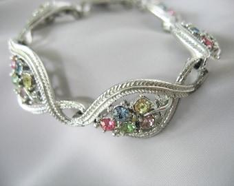 Rhinestone Leaf Choker Necklace, Pastel Rhinestones, Silver tone, Swirl, 1950s, Link Necklace
