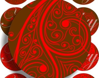 Brown and red images large circles for pocket mirrors and more digital collage sheet No.1511