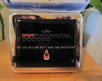 Zelda Life Heart 8 Day Pill Box with Mirror  Red Potion 8 Bit