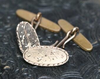 Antique Gold Filled Cufflinks - Engraved Design