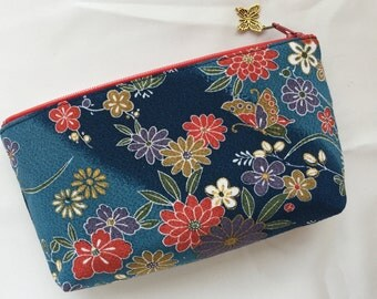 Japanese Yuzen Chirimen Zipper Pouch / Cosmetic Pouch - Butterfly & Flower on Indigo