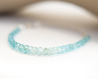 Sea Blue Apatite Silver Chain Bracelet Warm Blue Ombre Bracelet Silver Jewelry Silver Bracelet Sea Foam Gift for Her Wife Girlfriend Mother
