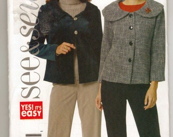 Butterick See and Sew 5408 Very Easy Sewing Pattern Misses Petite Jackets S-M-L New and Uncut